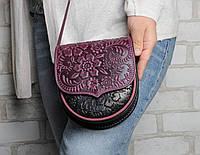 Кожаная женская мини-сумочка, пурпурно-черная сумка через плечо, фото 1