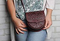Компактная кожаная женская сумочка, тисненая кожа, фото 1