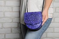 Кожаная женская мини-сумочка, сумка через плечо, ультрамарин, фото 1