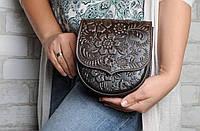 Женская мини-сумочка из натуральной кожи, сумка через плечо, шоколадная, фото 1