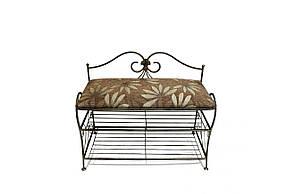 Банкетка кованая для коридора, прихожей, балкона и террасы SVL Тим большая, узор из коричневых цветов, каркас черное золото 0477-02