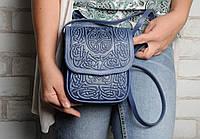 Маленькая кожаная сумочка, синяя женская сумка через плечо, тисненая кожа, ручная работа, фото 1