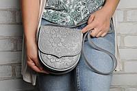 Кожаная женская мини-сумочка, серая маленькая сумка через плечо, фото 1