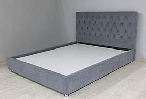 Кровать для спальни велюровая SVL Гресс, серая 180*200см, 0415-01