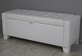 Банкетка для прихожей, коридора, спальни или детской SVL Бостон, с ящиком, белая глянцевая экокожа, ножки белые 1111-03