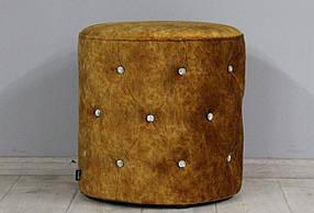 Пуфик велюровый со стразами для спальни, коридора или гостинной SVL Венеция, коричнево - рыжий 0123-15