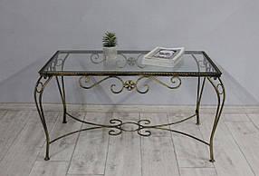 Столик кованый SVL Марсель, каркас черное золото, прозрачное стекло 0102-02