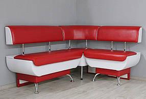 Кухонный уголок SVL Милан с ящиками левая сторона, красная с белым глянцевая экокожа 0445-09