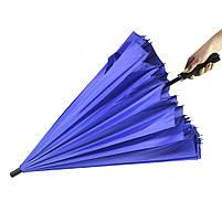 Зонт женский Lesko T-1001 Blue 24 спицы механический ветрозащитный от дождя, фото 2