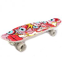 Пенни борд (скейт) с бесшумными светящимися колесами, ручка (На-на-на) C-40311
