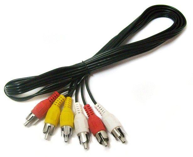 Аудиокабель 3RCA - 3RCA M-M 1.2 м Черный