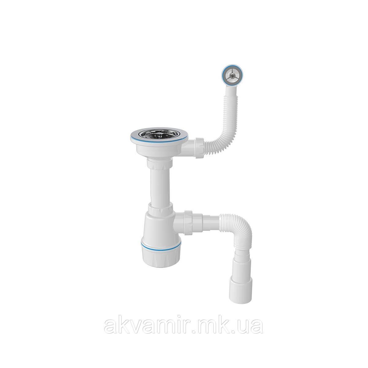 Сифон для мийки з круглим переливом, випуск 3 1/2, гвинт 45мм 1048N