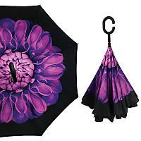Женский зонт Up-Brella Цветок Фиолетовый обратного сложения двойной ветрозащитный умный смарт зонт