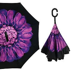 Жіночий парасольку Up-Brella Квітка Фіолетовий зворотного складання подвійний вітрозахисний розумний смарт парасольку