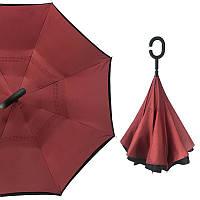 Зонт наоборот Up-Brella Бордовый умный зонт обратного сложения механический антизонт