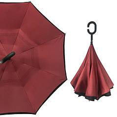 Зонт навпаки Up-Brella Бордовий розумний парасолька зворотного складання механічний антизонт