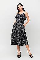 Женское черное платье-сарафан с принтом, с карманами, размер M-L