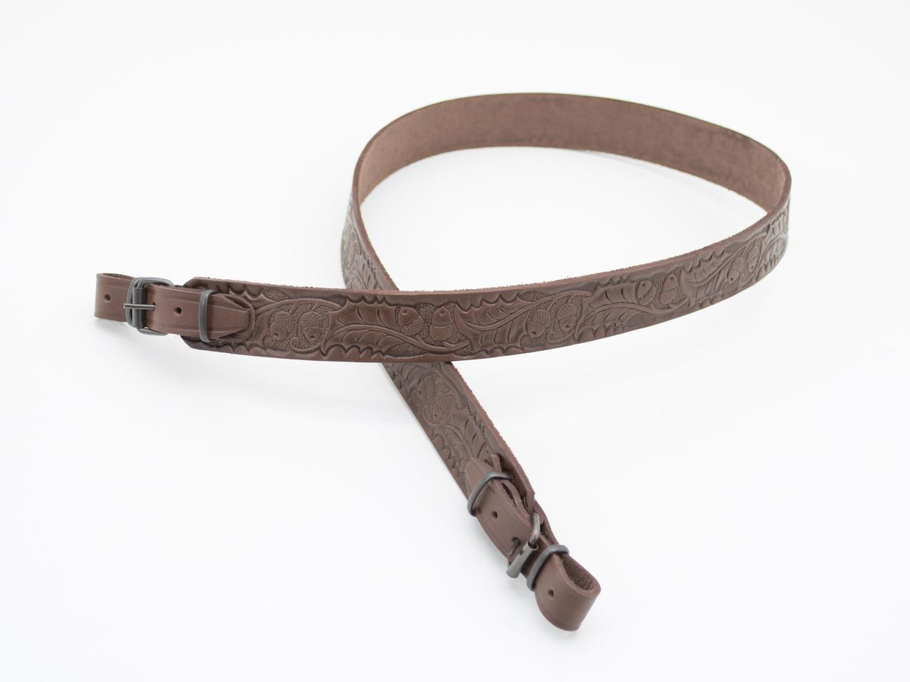 Ремень для ружья прямой тисненый жолудями кожаный коричневый 5031/2