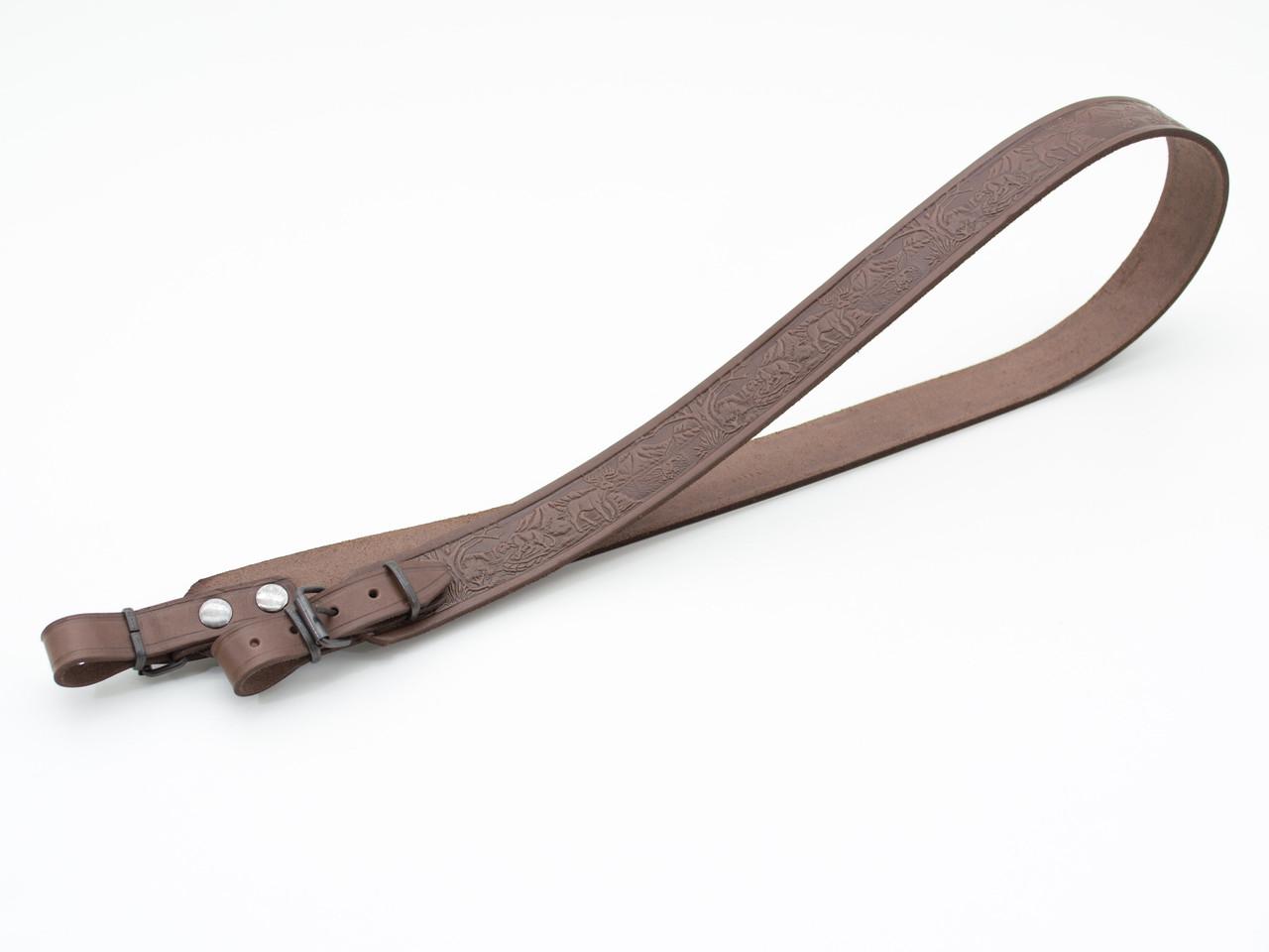 Ремень для ружья прямой тисненый оленями кожаный коричневый 5032/2
