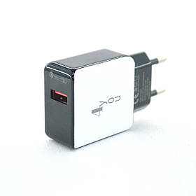 Зарядное устройство 4you A40 (Fast Charger QC 3.0, 5V/3A, 9V/12V-1.5A, 1USB) black/white