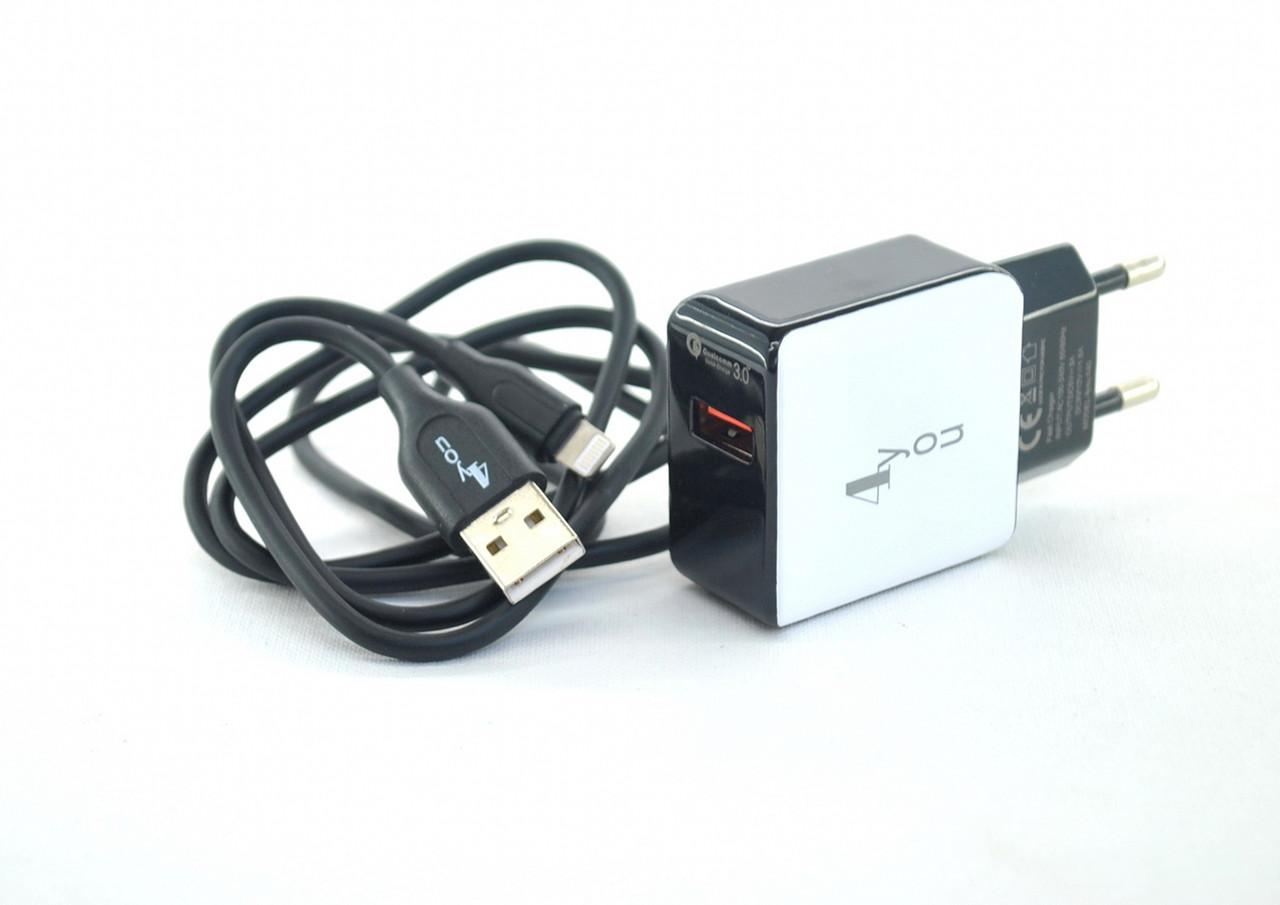 Купить Зарядное устройство 4you A40 (Fast Charger QC 3.0, 5V/3A, 9V/12V-1.5A, 1USB) black/white + iPhone