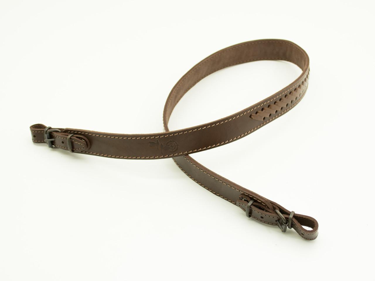 Ремень для ружья прямой плетеный кожаный коричневый 5029/2