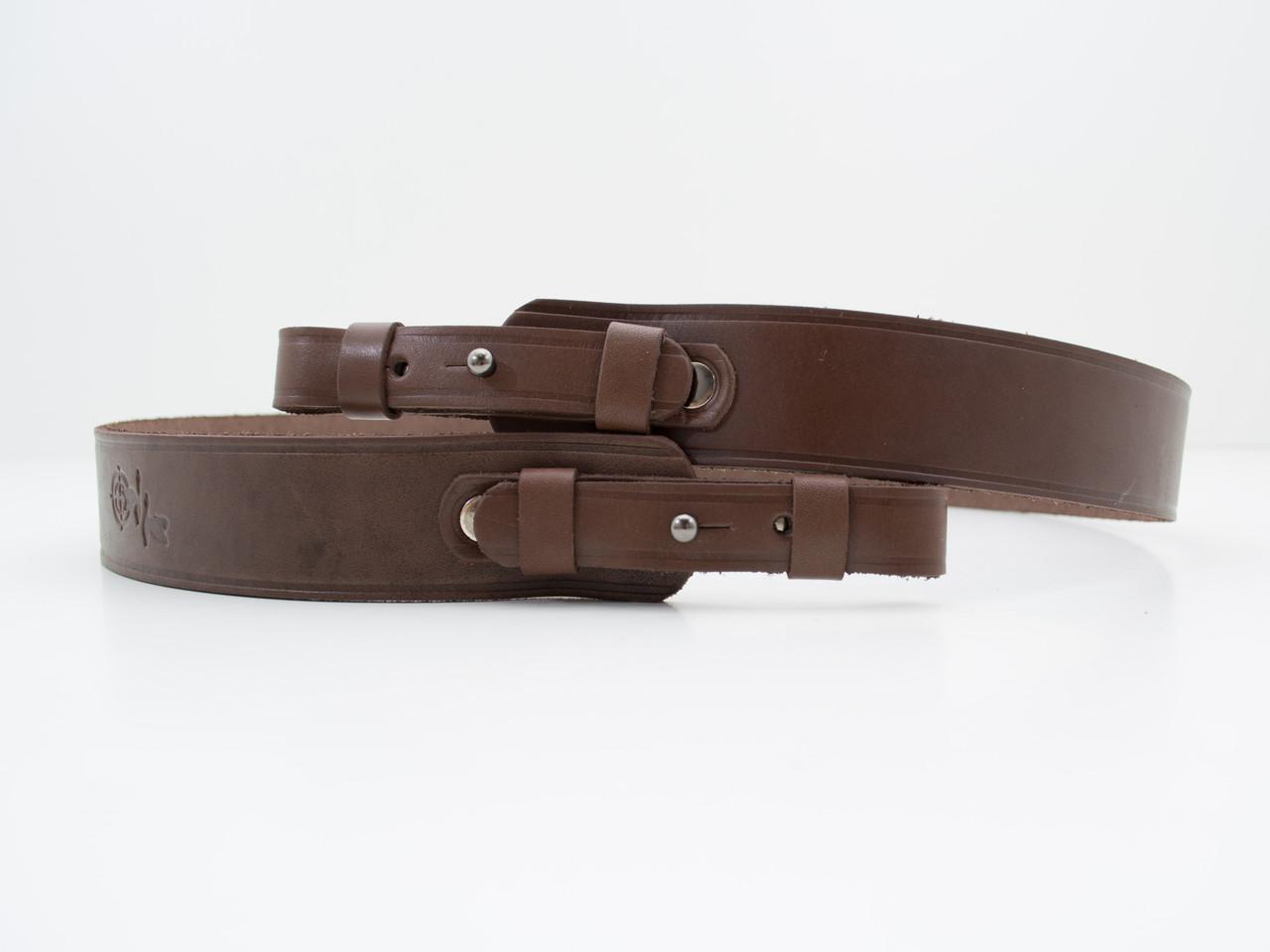 Ремень для ружья прямой 3,5 см 90см кожаный коричневый 5044/2