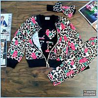 Модный спортивный костюм для девочки Осенний Нарядный детский костюм тройка Размер 2-6 лет