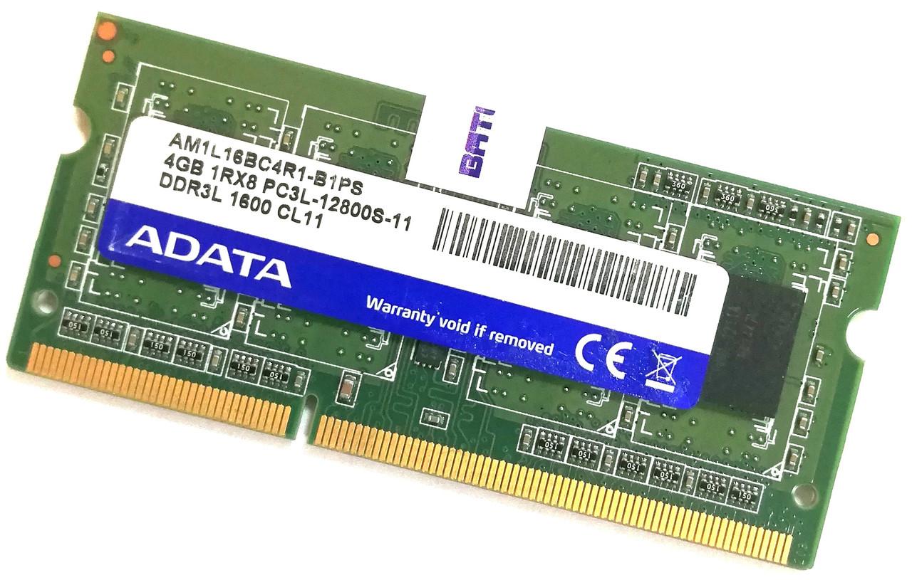 Оперативная память для ноутбука Adata SODIMM DDR3L 4Gb 1600MHz 12800S 1R8 CL11 (AM1L16BC4R1-B1PS) Б/У