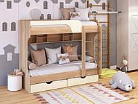 Двухъярусная кровать Юнга 80*190 . Детская, подростковая кровать. ДСП+МДФ