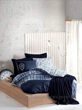 Комплект постельного белья Cotton Box 4 Сезона Masculine Pablo Navy Blue со стеганным пододеяльником