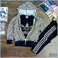 Осенний детский спортивный костюм тройка для девочки,хлопковый костюм.Принт леопард.4-12 лет