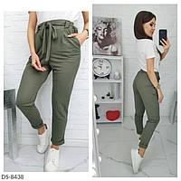 Летние женские модные брюки из натуральной ткани стрейч лен арт 503