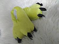 Тапки лапки когти детские плюшевые с задниками лимонный цвет Размер универсальный 27-33