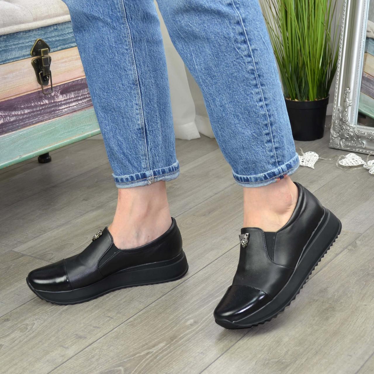 Женские туфли кожаные на утолщенной подошве