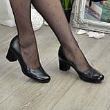 """Женские черные туфли на устойчивом каблуке, натуральная кожа """"питон"""", фото 2"""