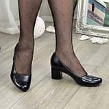 """Женские черные туфли на устойчивом каблуке, натуральная кожа """"питон"""", фото 5"""