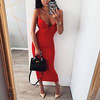 Платье женское летнее красное, чёрное, какао, 42-46