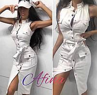 Платье женское летнее джинсовое белое 42-44, 44-46