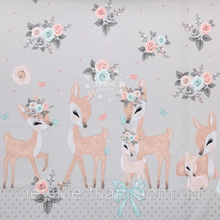 """Ткань бязь купоном """"Косули и розы"""" на сером, коллекция Vintage, № 2812а"""