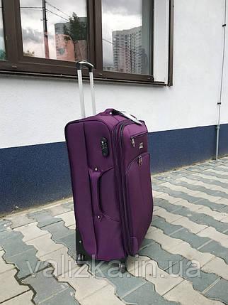 Качественный средний тканевый текстильный чемодан фиолетовый на 4-х колесах Польша, фото 2