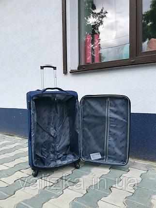 Якісний середній тканинний текстильний валізу синій на 4-х колесах Польща, фото 2
