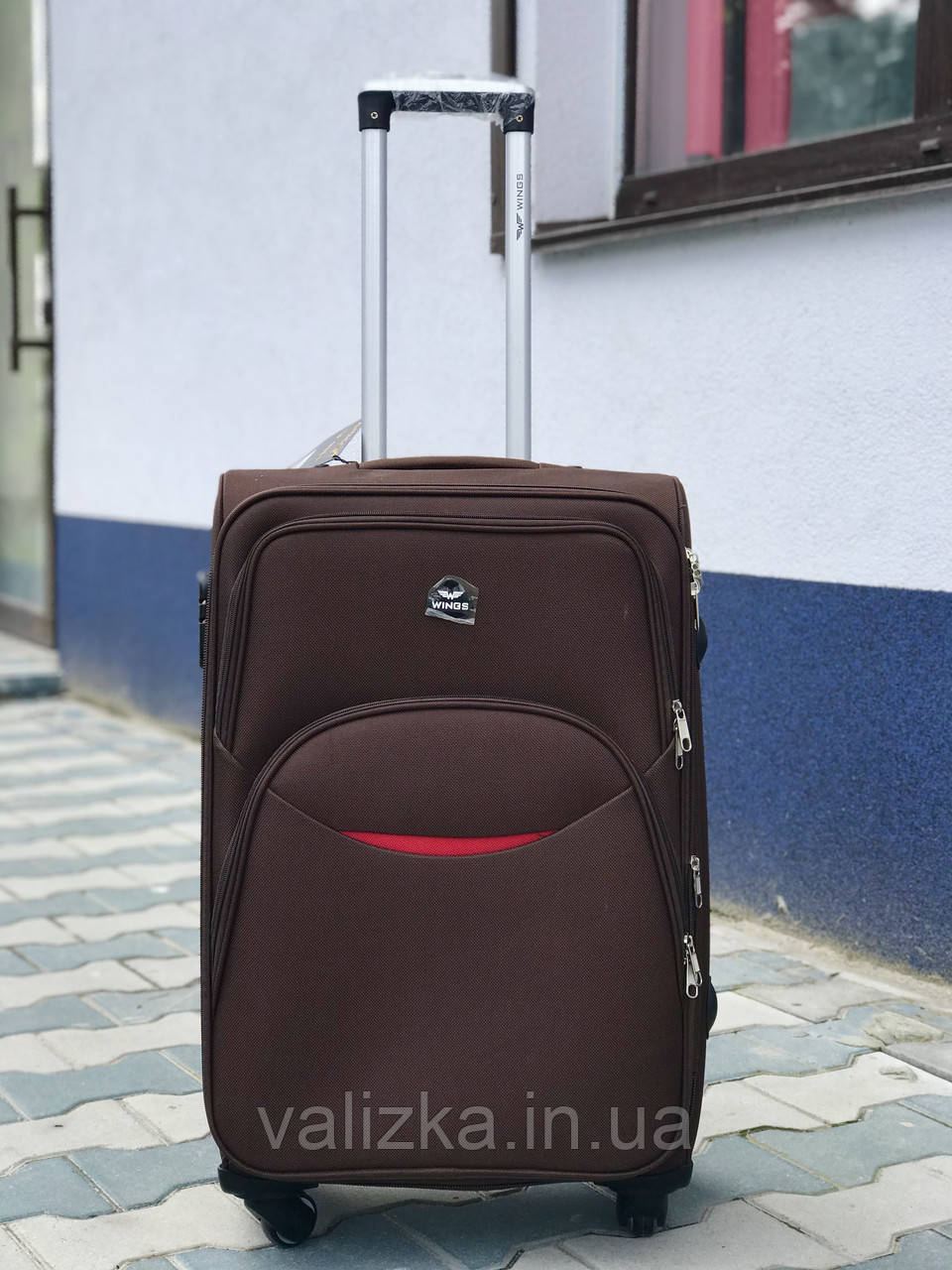Качественный средний тканевый текстильный чемодан синий  на 4-х колесах Польша