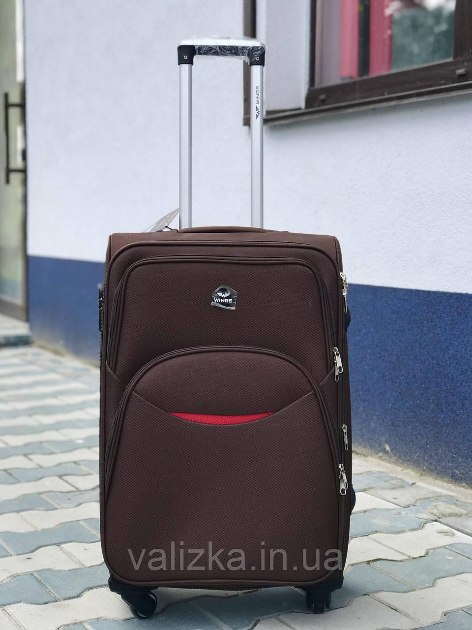 Качественный большой тканевый текстильный чемодан кофейный на 4-х колесах Польша
