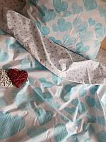 Комплект постільної білизни євро з простирадлом на резинці на матрац 160х200см, сатин 100% бавовна