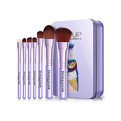 Набор кистей для макияжа BIOAQUA Make UP Beauty в футляре Павлин Фиолетовый 7 шт