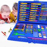Набор для рисования 86 предметов, голубой, набор для творчества, подарок ребенку, набор художника, фото 2