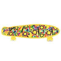 Детский скейтборд пенни борд со светящимися колесами, желтый с принтом, 56 х 14 см. Есть другие цвета