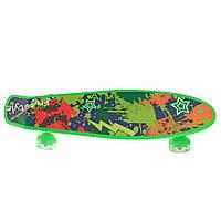 Детский скейтборд пенни борд со светящимися колесами, зеленый с принтом, 56 х 14 см. Есть другие цвета