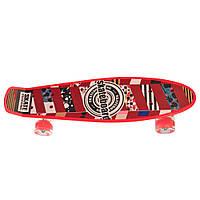 Детский скейтборд пенни борд со светящимися колесами, красный с принтом, 56 х 14 см. Есть другие цвета
